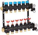 """HENCO UFH-0605MDK08 Композитный коллектор (1"""" ВР, 8 x 3/4"""" НР, регулируемые расходомеры, термометры, клапан слива, воздухоотводчики, PVDF)"""